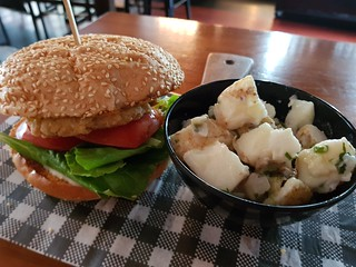ABC Burger with Potato Salad at Brewski