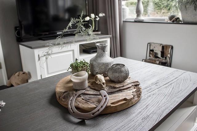 Salontafel houten plank hoefijzer schedeltje