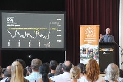 Explaining the long term CO2 trend at 100 solutions to global warming: Paul Hawken on Drawdown at Coburg Town Hall - IMG_3036