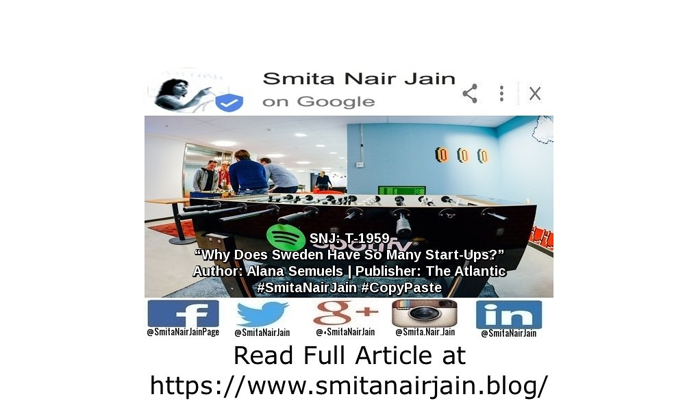 "SNJ: T-1959: ""Why Does Sweden Have So Many Start-Ups?"" 