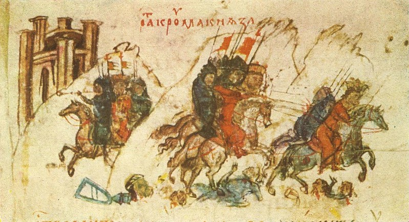 The army of Krum of Bulgaria persecutes and wounds Nikephoros' son during the Battle of Pliska