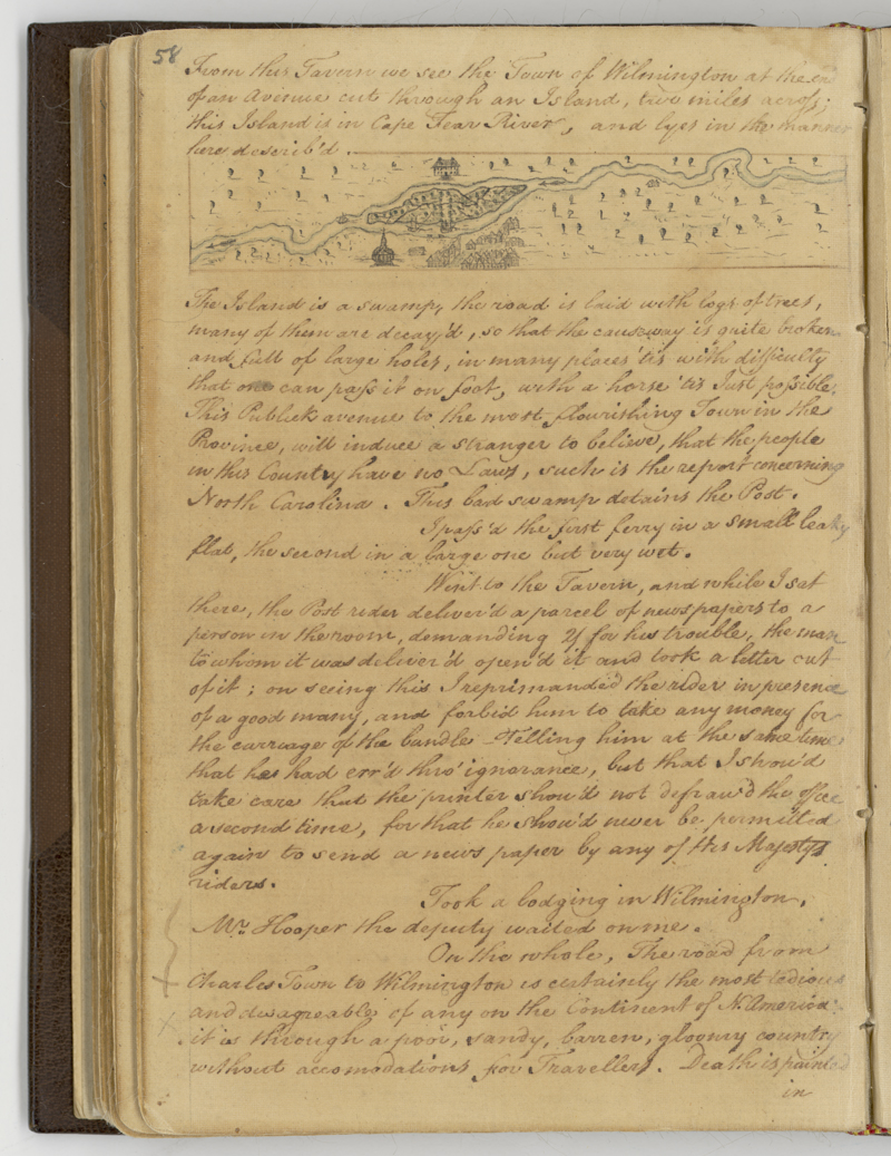 A page from Hugh Finlay's 1773-1774 journal.