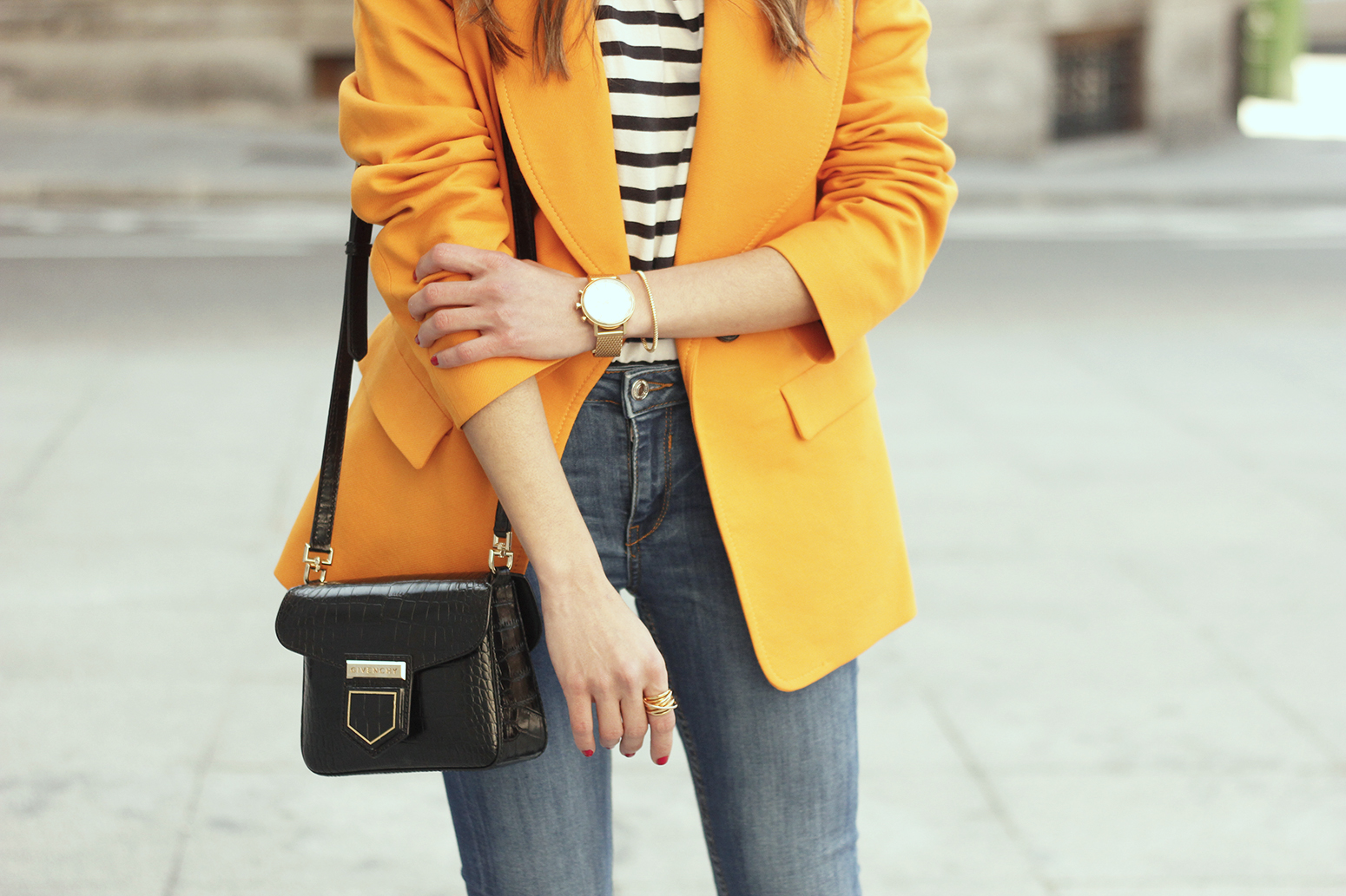 yellow blazer strippes ripped jeans givenchy bag leopard heels spring outfit 201813