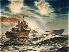 """Night action off Guadalcanal, HMNZS """"Kiwi"""" and submarine, 30 January 1943"""