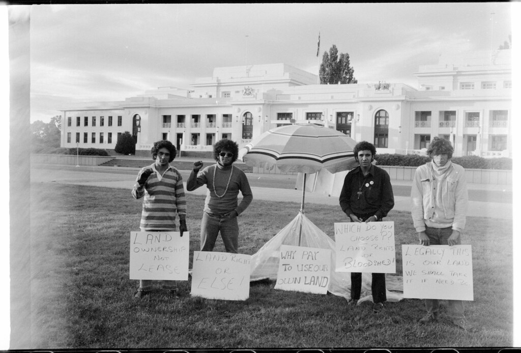 First day of the Aboriginal Tent Embassy, outside Parliament House, Canberra, 27 January 1972. Left to right: Billy Craigie, Bert Williams, Michael Anderson and Tony Coorey.