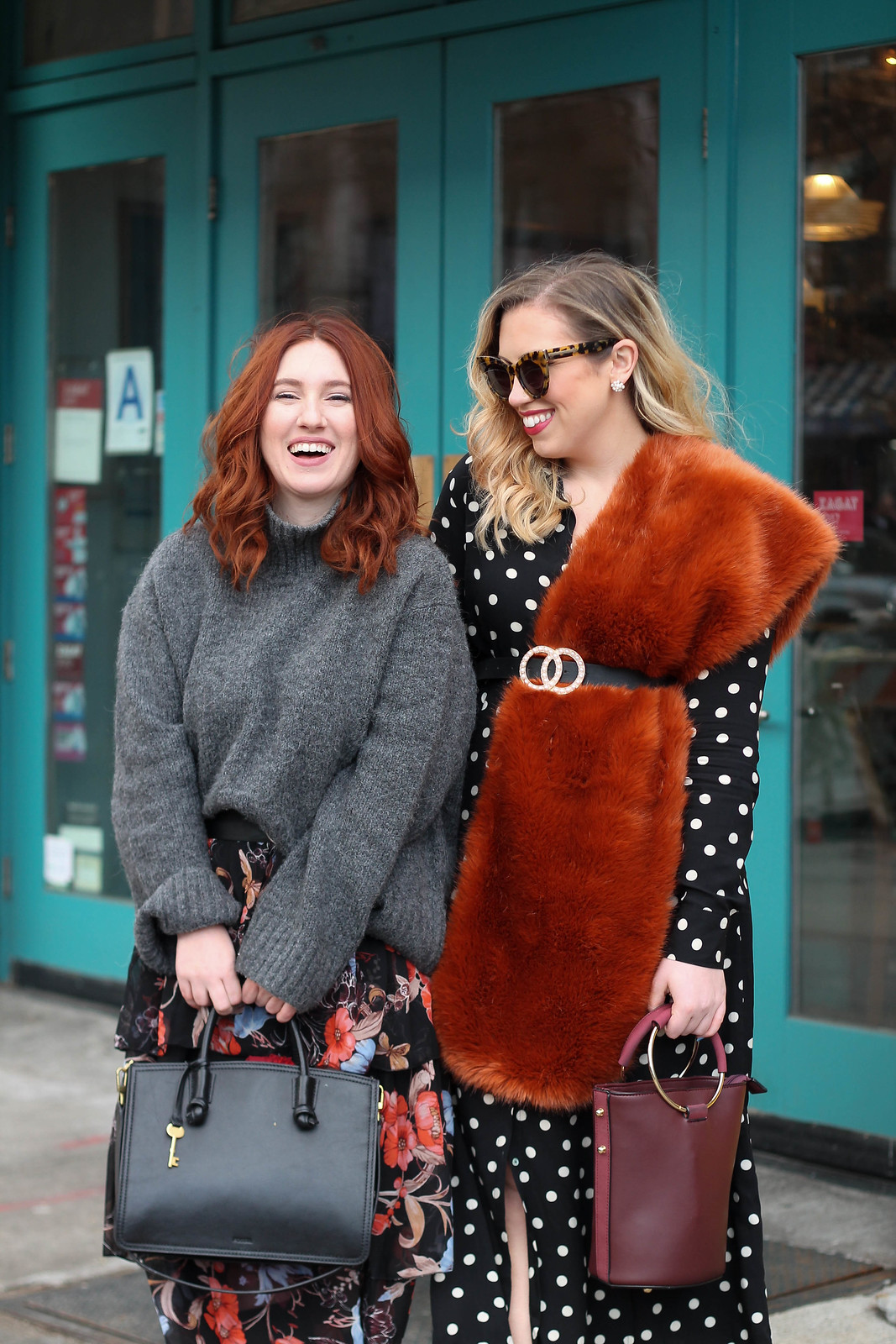 Bloggers Laughing Red Head Oversized Gray Sweater Blonde Girl Faux Fur Scarf Polka Dot Dress