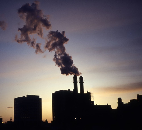 Steam Generation Plant at Sunset - Agfachrome - 1985, Kneeland Street, Boston