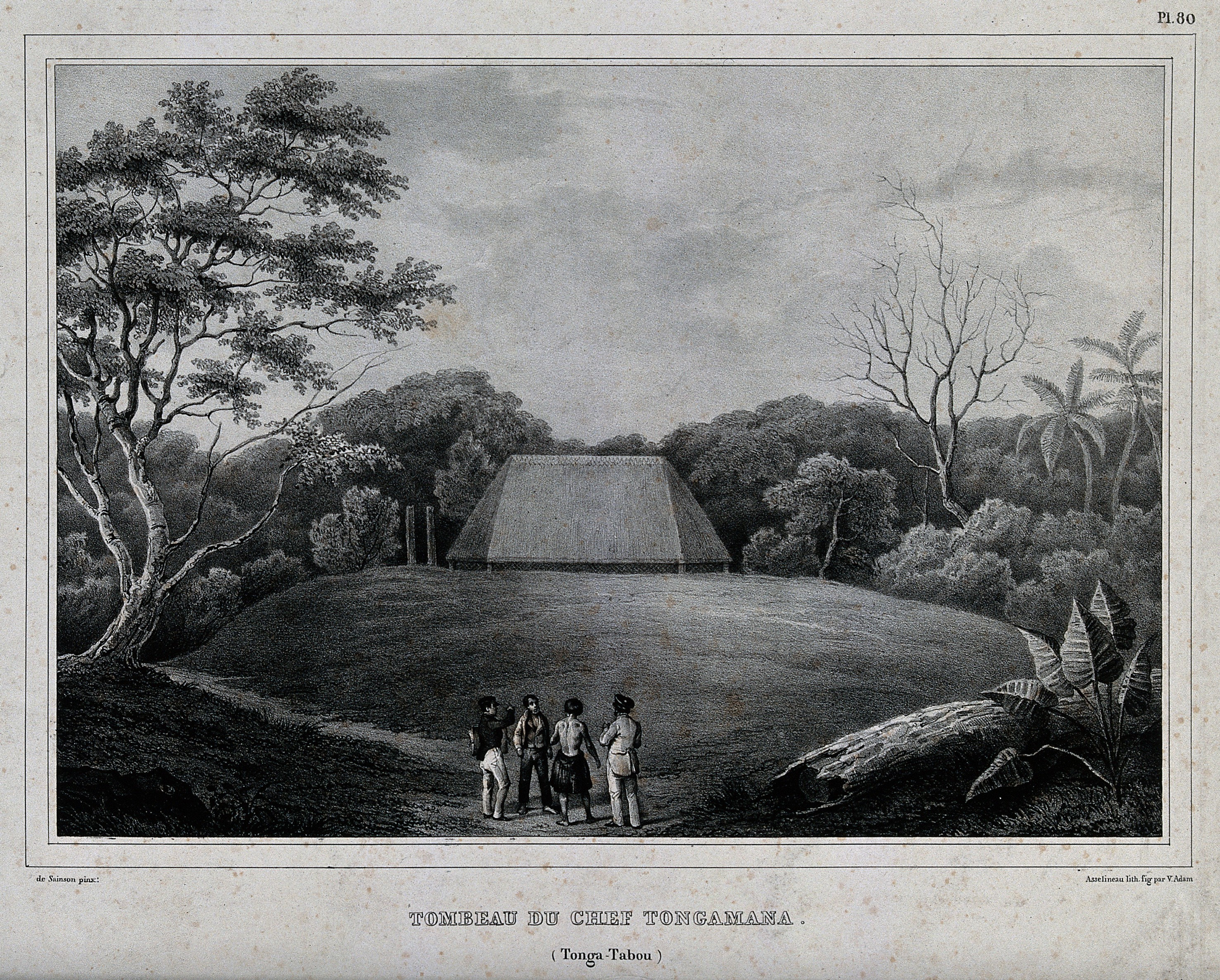 Men standing in front of the tomb of Chief Tongamana