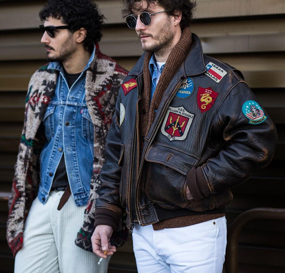 ジャガードカーディガン×Gジャン×白パンツ&A-2 レザージャケット×ブラウンカーディガン×デニムシャツ×白パンツ7