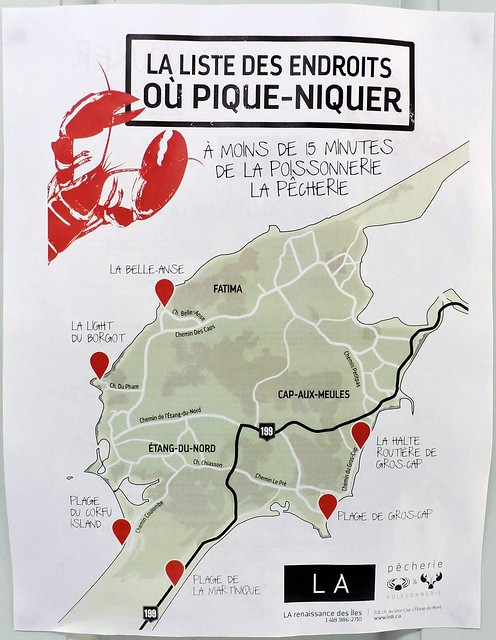 Map of places to picnic on Cap-aux-Meules