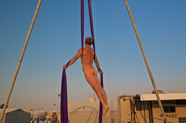 naturist aerial camp Gymnasium 0009 Burning Man, Black Rock City, NV, USA