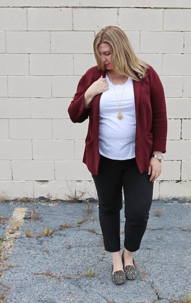 new_garnet sweater blazer, black pencil pants, white tee, black and white dot loafers 5