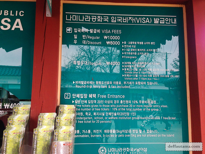 Nami Island - Ticket Price