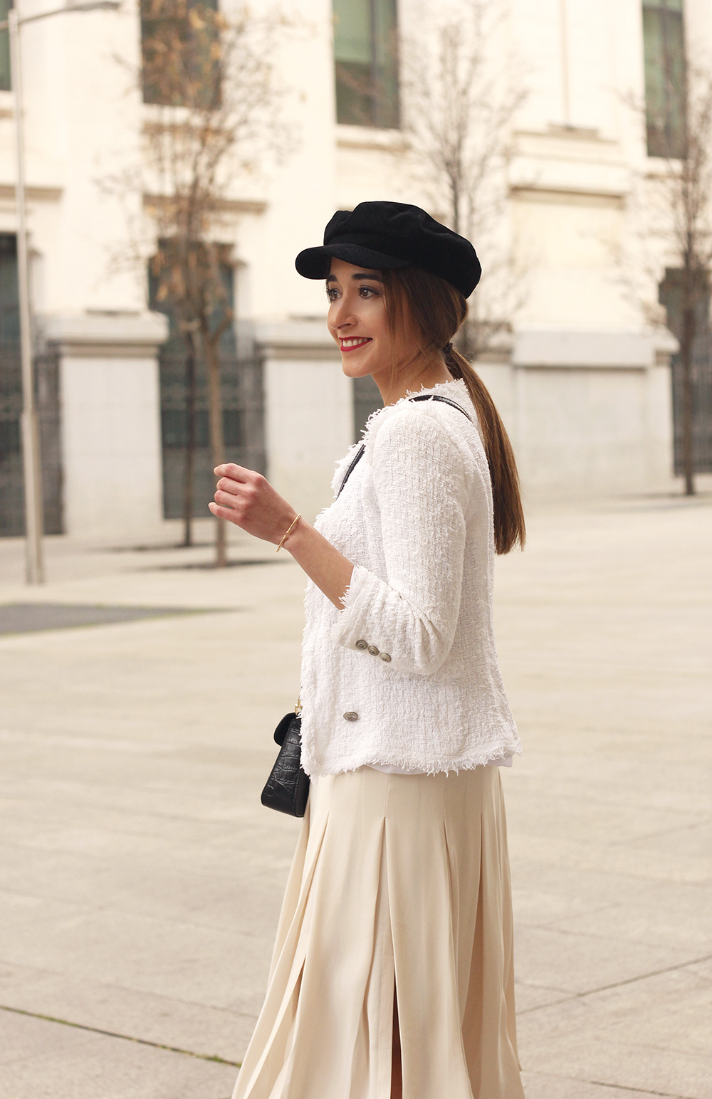 midi blush skirt white tweed jacket givenchy bicolor uterqüe boots winter outfit15