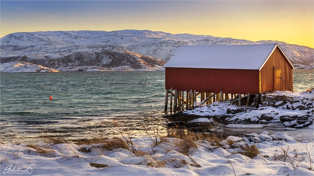 Golden hour boat house, Tromsø, Norway