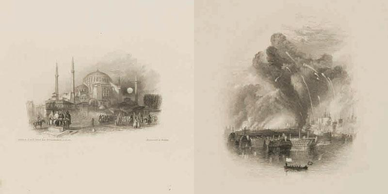 左)《聖ソフィア、コンスタンティノープル》(1833年)(制作年不詳、郡山市立美術館) 右)《バルト海の戦い》(1837年)(制作年不詳、郡山市立美術館)