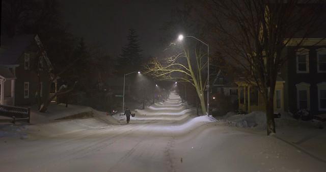 Chestnut St during Bombogenesis, night; Wakefield, Massachsuetts (2018)
