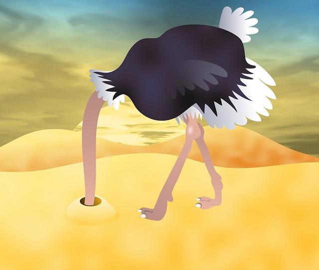 avestruz esconde cabeza suelo