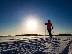 skiing on the lake Kallavesi