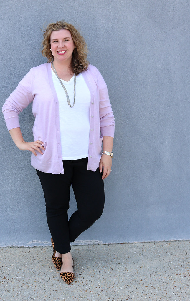 lilac cardigan, white tee, black pencil pants, leopard flats 3
