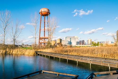 cityscape landscape fall park metropark columbus ohio unitedstates us