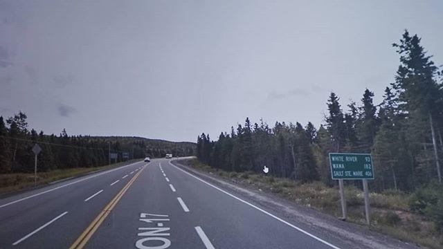 White River 93 km, Wawa 182km, Sault Ste. Marie 406 km. #ridingthroughwalls #xcanadabikeride #googlestreetview #ontario