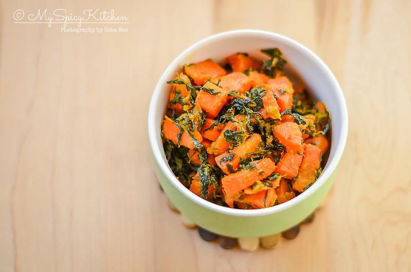 A bowl of gajar methi subzi or carrot fenugreek stir fry