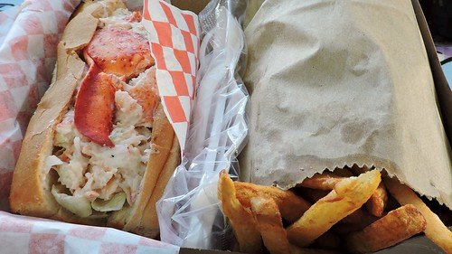Lobster roll; French fries