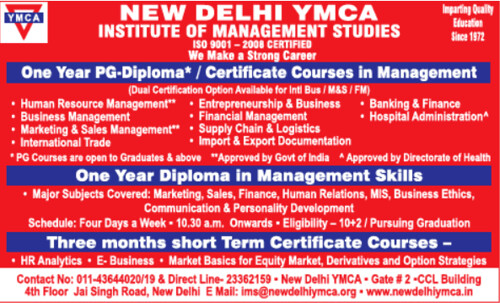 YMCA Admissions 2018, Courses Offered
