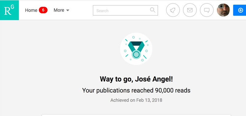 Llego a 90.000 lecturas en ResearchGate