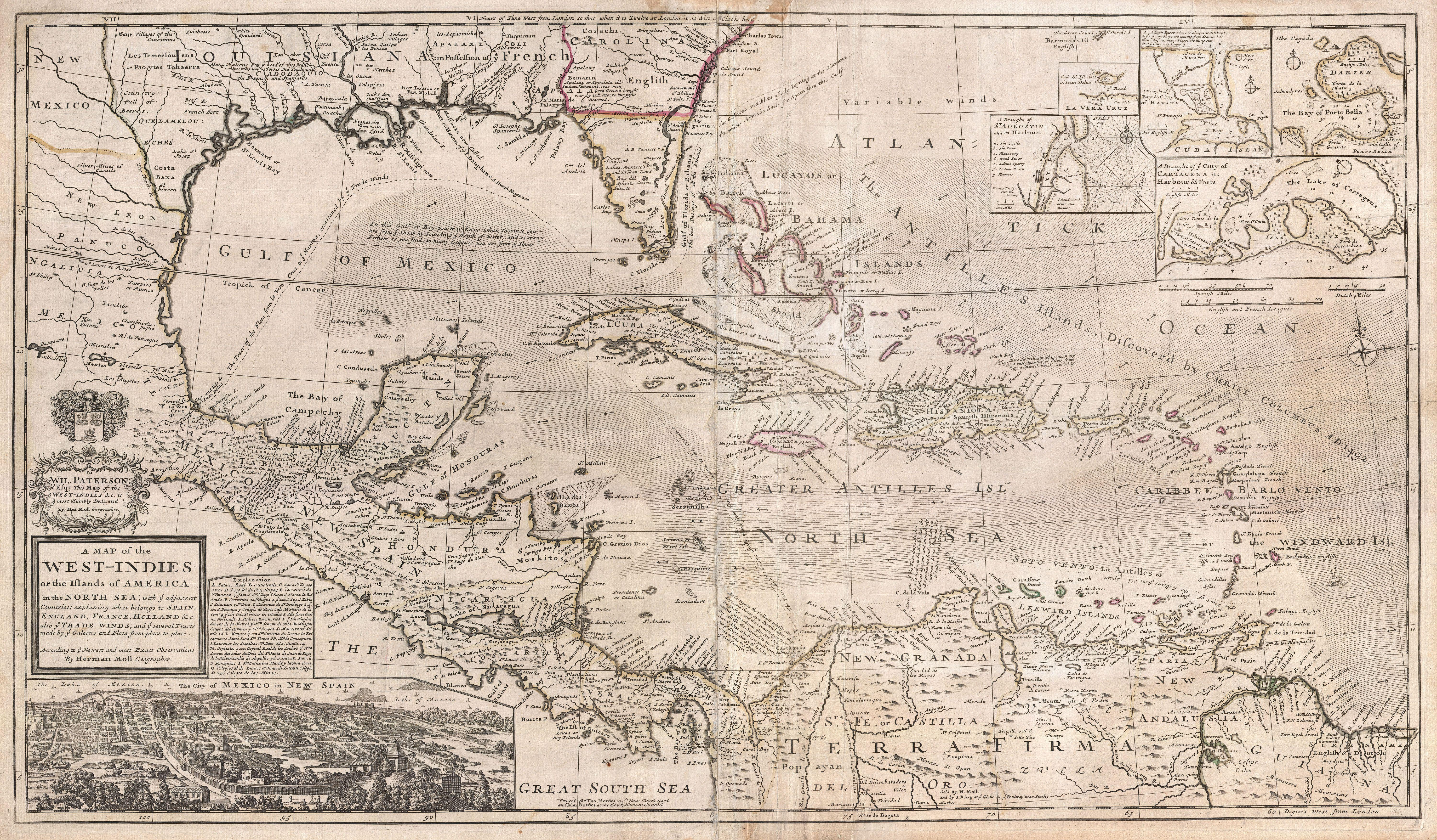 Map of the Caribbean Sea, 1732