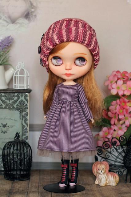 Hat & striped dress for Blythe