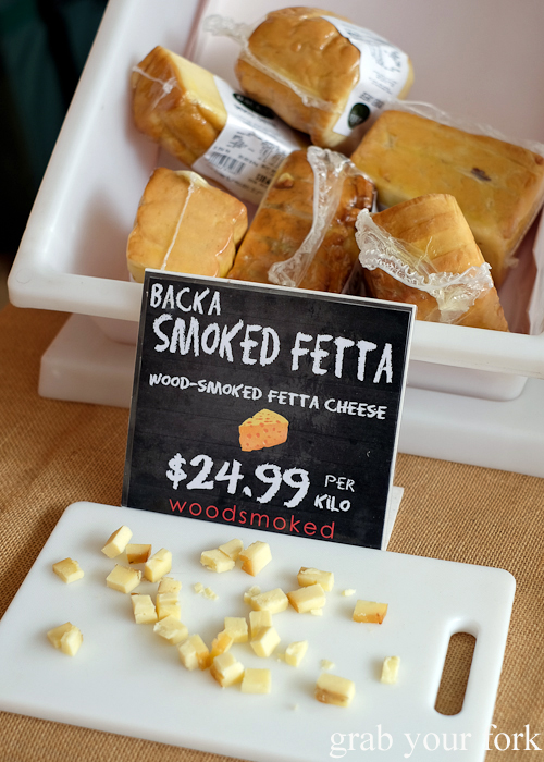 Wood-smoked fetta chese by Backa at Southside Farmers Market in Canberra