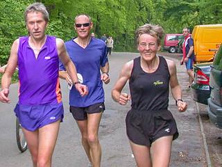 Gisela, Karlheinz, Werner am Ziel nach 63 km