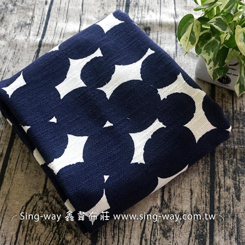 白底深藍大圓點棉麻混紡 簡約無印 水玉 手工藝DIy拼布布料 FB790048
