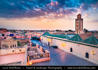 Morocco - Marrakech - UNESCO - Minaret of Ben Youssef Mosque at Sunset