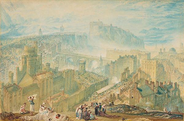 J・M・W・ターナー《コールトン・ヒルから見たエディンバラ》 1819年頃 水彩、鉛筆、グワッシュ、スクレイピングアウト・網 エディンバラ、スコットランド国立美術館群(C)Trustees of the National Galleries of Scotland