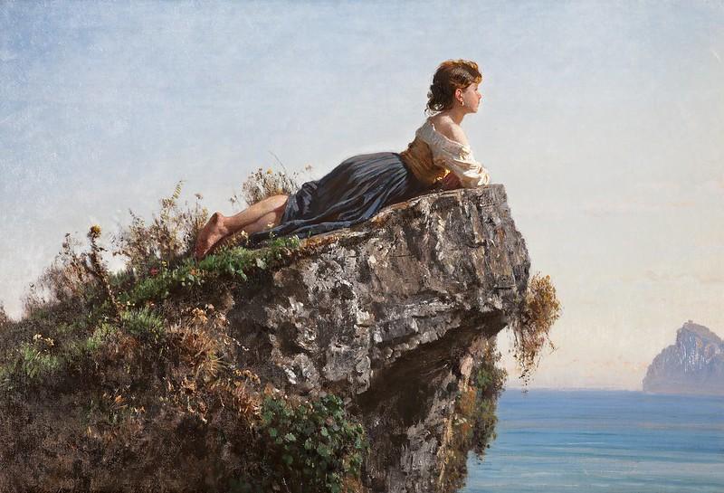Filippo Palizzi - La Fanciulla sulla roccia a Sorrento (1871)