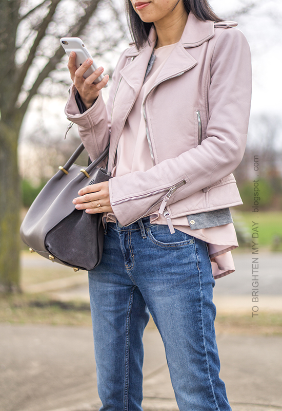 lilac leather jacket, gray cardigan, pink peplum top, girlfriend jeans, gray suede tote