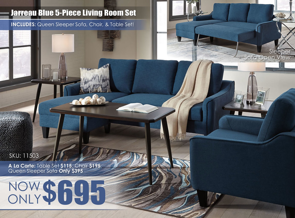 Jerreau Blue 5PC Living Set Special_11502