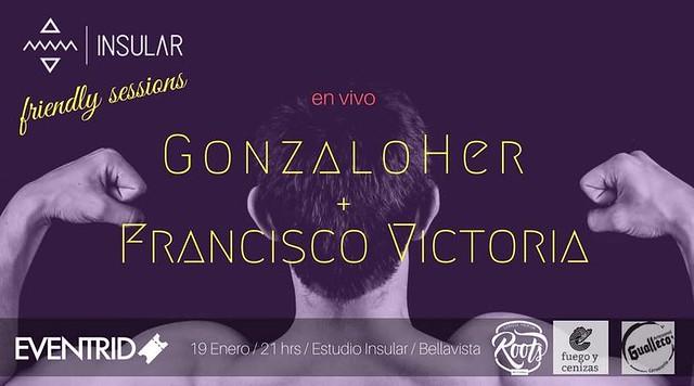 Francisco Victoria y Gonzalo Her en Estudio Insular 19 enero Afiche