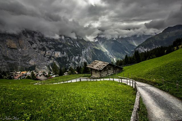 storm clouds in the alps. Mürren. switzerland