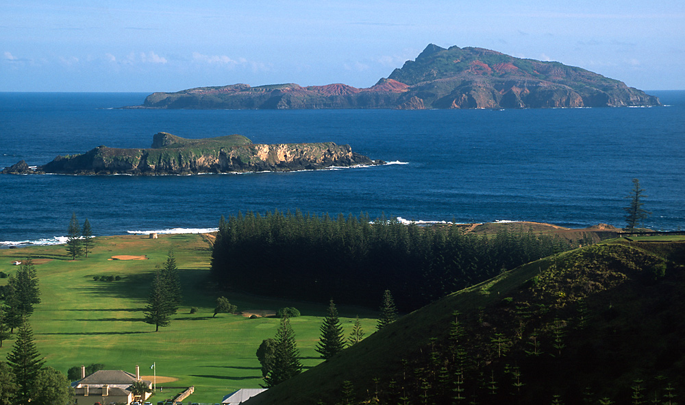 View from Norfolk Island, across to Nepean Island (foreground) and Phillip Island.