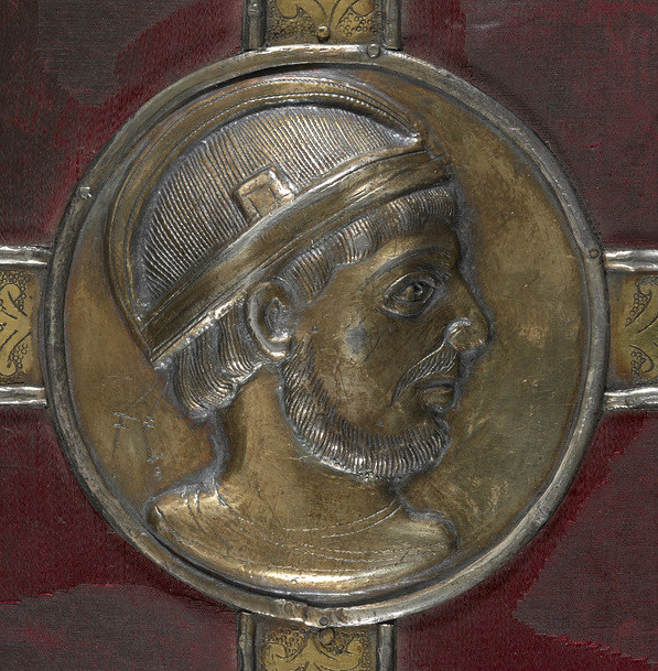 A silver gilt medallion, probably representing the French Emperor Lothaire
