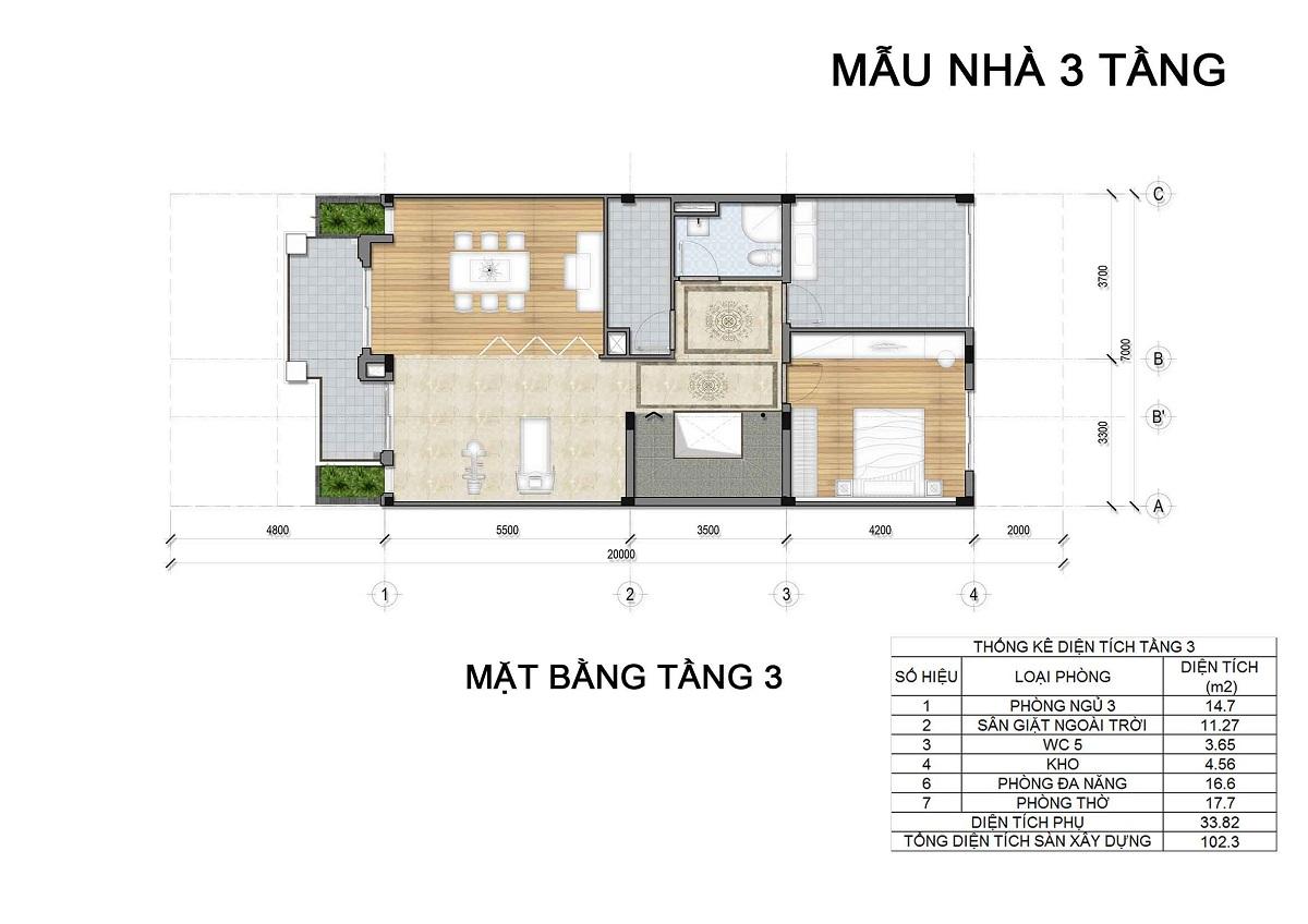 Mặt bằng tầng 3 biệt thự 3 tầng thuộc các lô LK1, LK2, LK6 biệt thự Hưng Phát Green Star q7.