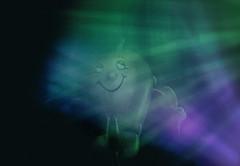Mac lit by glow sticks