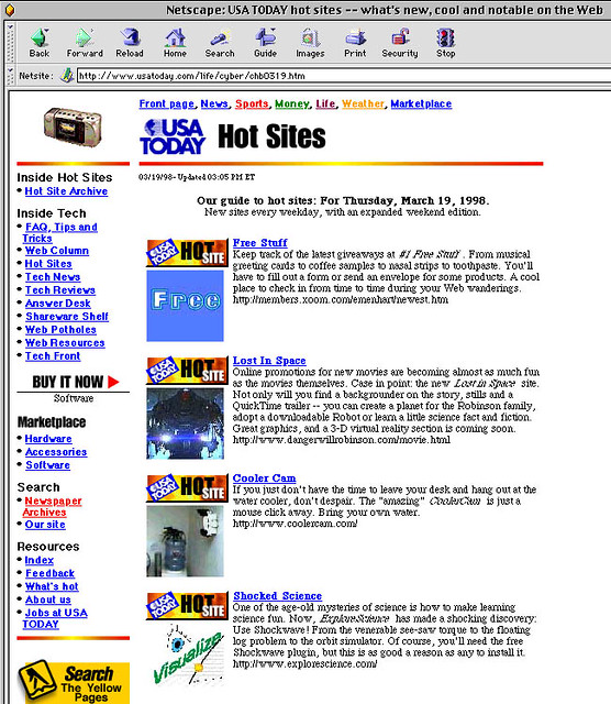 USA Today Hot Sites | Screen snapshot from March 19, 1998 wh