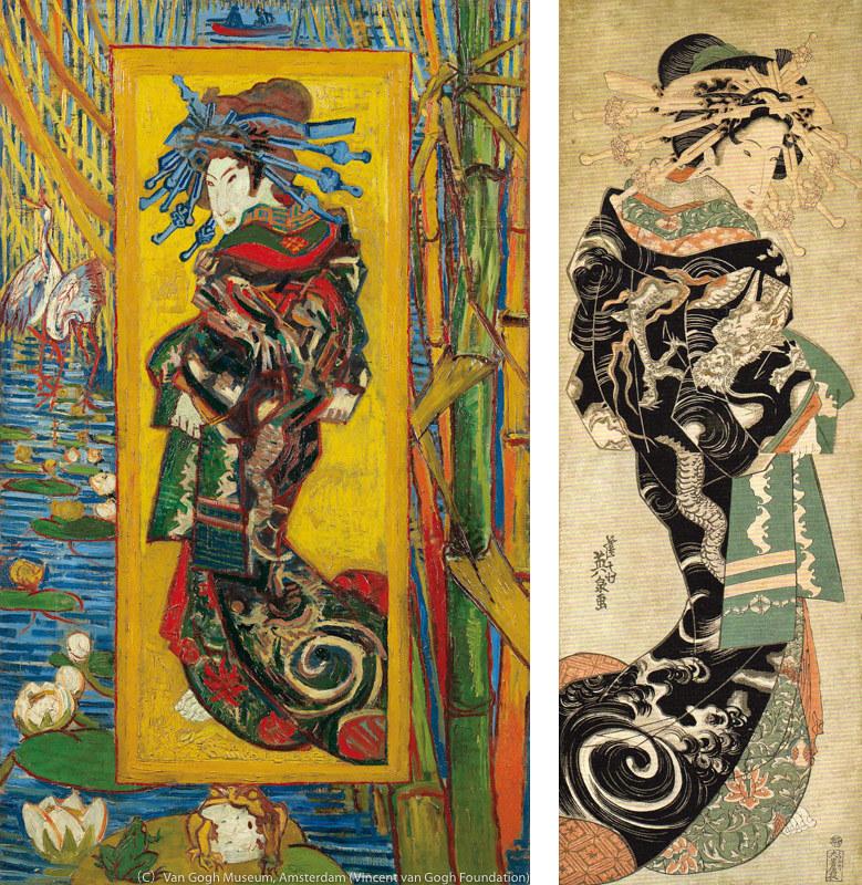 左)フィンセント・ファン・ゴッホ《花魁(溪斎英泉による)》(1887年、ファン・ゴッホ美術館[フィンセント・ファン・ゴッホ財団] 蔵) 右)溪斎英泉《雲龍打掛の花魁》(1820-30年代、及川茂コレクション)