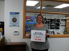 Valerie Pfeifer won $5,000 in the Brentwood Lottery XXVI Main Draw