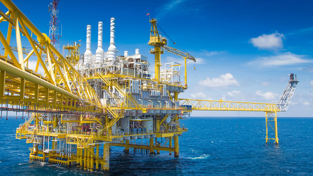 An oil extraction platform at sea